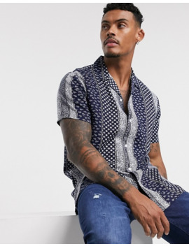 Topman Revere Collar Paisley Stripe Shirt In Navy by Topman