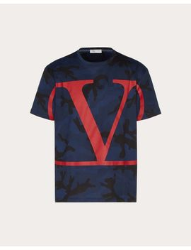 Camouflage T Shirt With Vlogo by Valentino