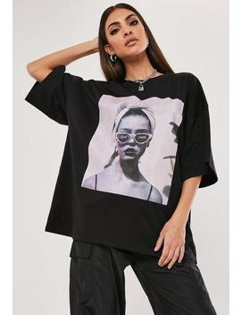 Black Oversized I Don't Care Graphic T Shirt by Missguided