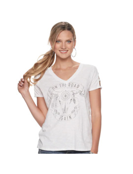 "Women's Rock & Republic ""On The Road Again"" Cage Sleeve Graphic Tee by Rock & Republic"