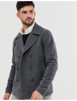 Jack &Amp; Jones Originals Pea Coat In Dark Grey by Jack & Jones