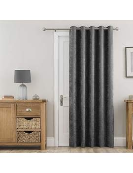 Chenille Grey Thermal Eyelet Door Curtain by Dunelm