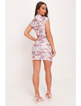 Grey Scuba Crepe Oriental Print Split Hem Bodycon Dress by I Saw It First