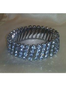 Vintage Blue Rhinestone Expandable Bracelet by Ebay Seller