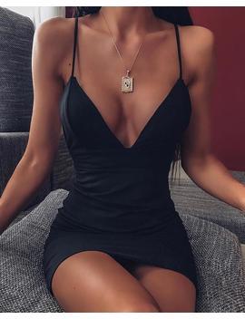Deep V Bodycon Slip Dress by Chic Me