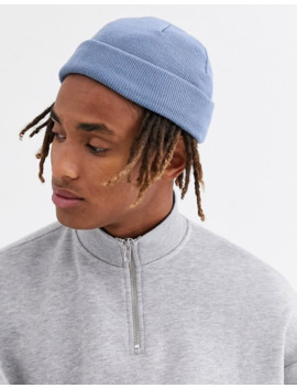 Asos Design   Mini Vissersbeanie In Denim Blauw by Asos Design