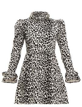 Leopard Print Ruffled Cotton Velvet Dress by Batsheva