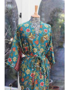 Silk Kimono Robe, Christmas Gift, Dressing Gown, Vintage Silk Kimono, Bridesmaid Robes, Boho Kimono, Bridal Robe, Kimono Dress, Mango Moon by Etsy
