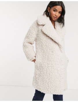 Topshop Borg Coat In Cream by Topshop