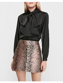 High Waisted Snakeskin Print Mini Skirt by Express