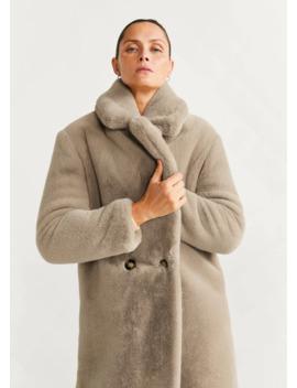 Παλτό γούνα μάξι γιακάς by Mango
