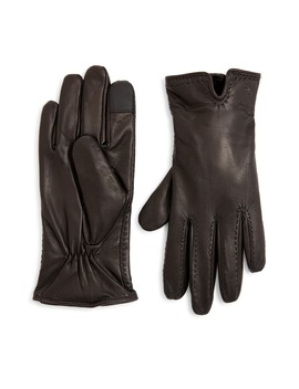 Lauren Cashmere Lined Leather Touchscreen Gloves by Zzdnu Lauren