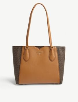 Mae Monogram Leather Tote by Michael Michael Kors