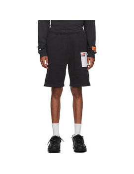 Black Sticker Label Shorts by Heron Preston