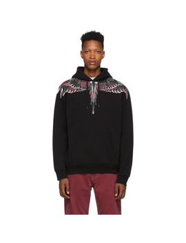 Black Flower Wings Hoodie by Marcelo Burlon County Of Milan