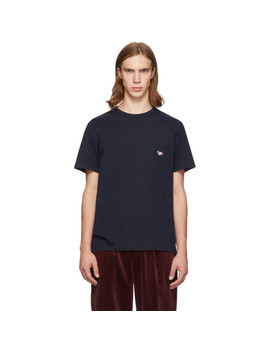 Navy Tricolor Fox Patch Pocket T Shirt by Maison KitsunÉ