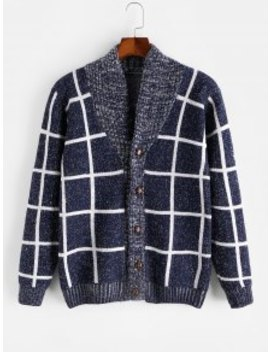 Sale Checkered Geometric Graphic Button Knitted Jacket   Blue S by Zaful