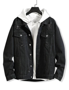 Solid Color Ripped Decorated Denim Jacket   Black M by Zaful