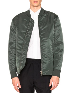 Acne Studios Mylon Shine Bomber In Sage Green 48 / M by Acne Studios  ×