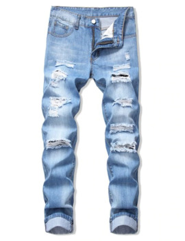 Faded Wash Ripped Long Straight Jeans   Denim Blue 32 by Zaful