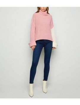 Carpe Diem Cream Colour Block Oversized Jumper by New Look