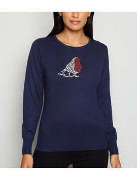 Mela Navy Robin Embellished Christmas Jumper by New Look