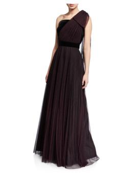 Jenise Dot One Shoulder Velvet Trim A Line Gown by Shoshanna