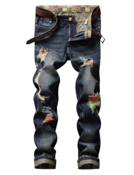 Colorful Destroy Wash Scratch Long Casual Jeans   Denim Dark Blue 32 by Zaful