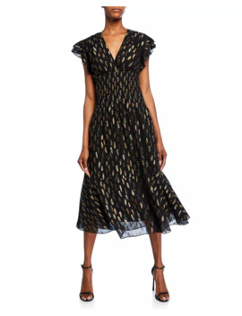 Zirara Metallic Cap Sleeve Midi Dress by Shoshanna