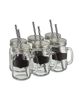 Six Mason Jars With Chalkboard Labels by The Range