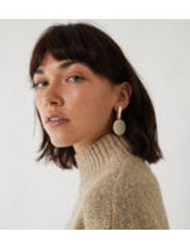 Grey Stone Disc Drop Earrings by Warehouse
