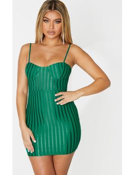 Emerald Green Strappy Cup Detail Bodycon Dress by Prettylittlething