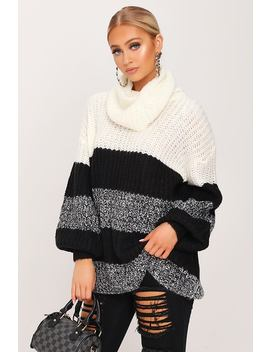 Cream Roll Neck Stripe Knitted Jumper by I Saw It First