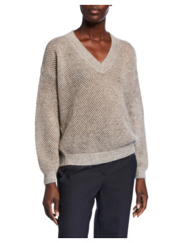 Metallic Mohair Mesh Sweater by Brunello Cucinelli