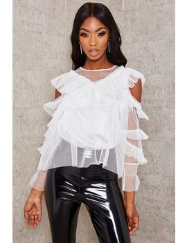 White Frill Mesh Overlay Cold Shoulder Blouse by I Saw It First