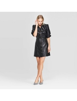Women's Puff Elbow Sleeve Collared Button Up A Line Mini Dress   Who What Wear™ by Who What Wear