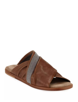 Leather Crisscross Sandals by Brunello Cucinelli