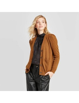 Women's Puff Long Sleeve Cardigan   Who What Wear™ Brown by Who What Wear