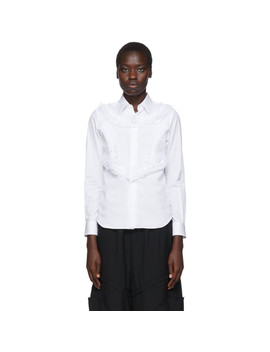 White Poplin & Georgette Ruffle Detail Shirt by Comme Des GarÇons