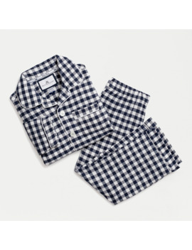 Kids' Petite Plume™ Flannel Pajama Set In Navy Gingham by J.Crew