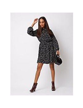 Black Polka Dot Tie Neck Dress by Asda