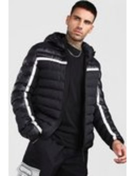 Quilted Reflective Jacket With Hood by Boohoo Man