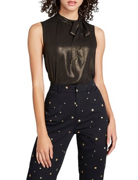 Tie Neck Sleeveless Metallic Blouse by Modcloth