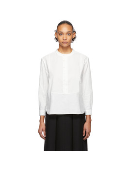 White Twill Pullover Dinner Shirt by Blue Blue Japan