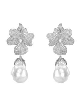 White Flower Baroque Pearl Drop Earring Silver by Latelita