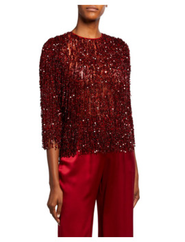 Sequin Fringed Lace Top by Naeem Khan