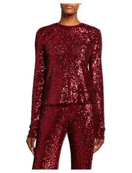 Long Sleeve Sequined Top by Naeem Khan