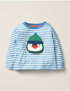 Novelty Lift The Flap T Shirt   Elizabethan Blue/Ivory Penguin by Boden