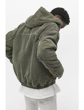Uo Seafoam Corduroy Zip Through Hooded Skate Jacket by Urban Outfitters