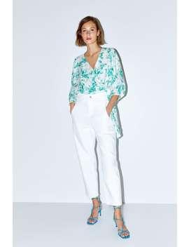 Spodnie Jeansowe O KrÓtszym Kroju Z Wysokim Stanem Z Kolekcji Z1975 by Zara